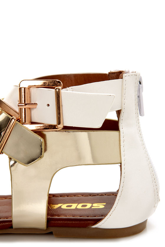 Soda Adam White Multi Metallic Buckled T-Strap Thong Sandals at Lulus.com!