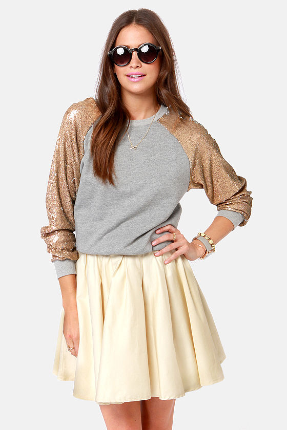Sequin and Bare It Grey Sequin Sweater at Lulus.com!