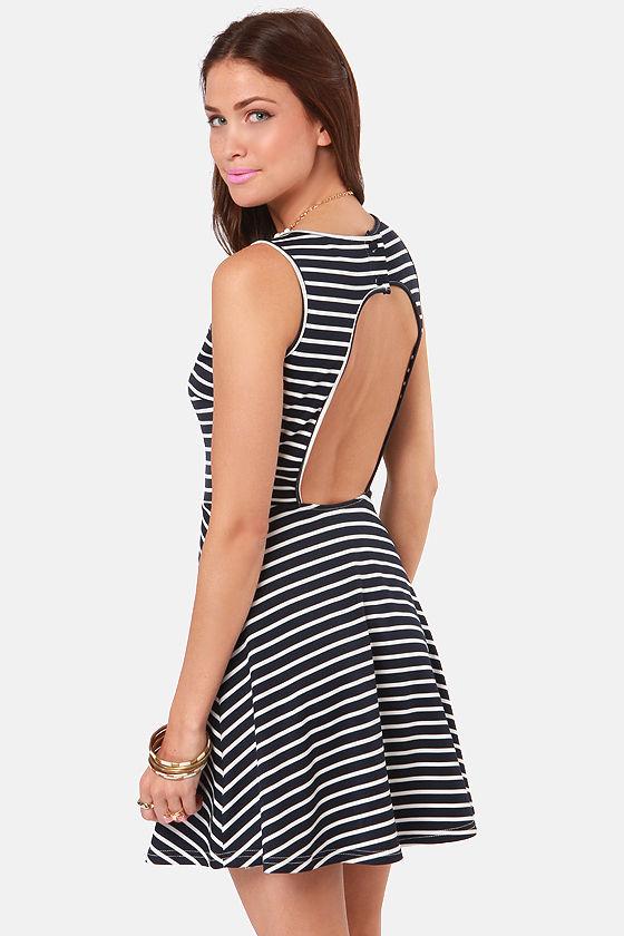 Pretty Striped Dress - Navy Blue Dress - White Dress - $40.00