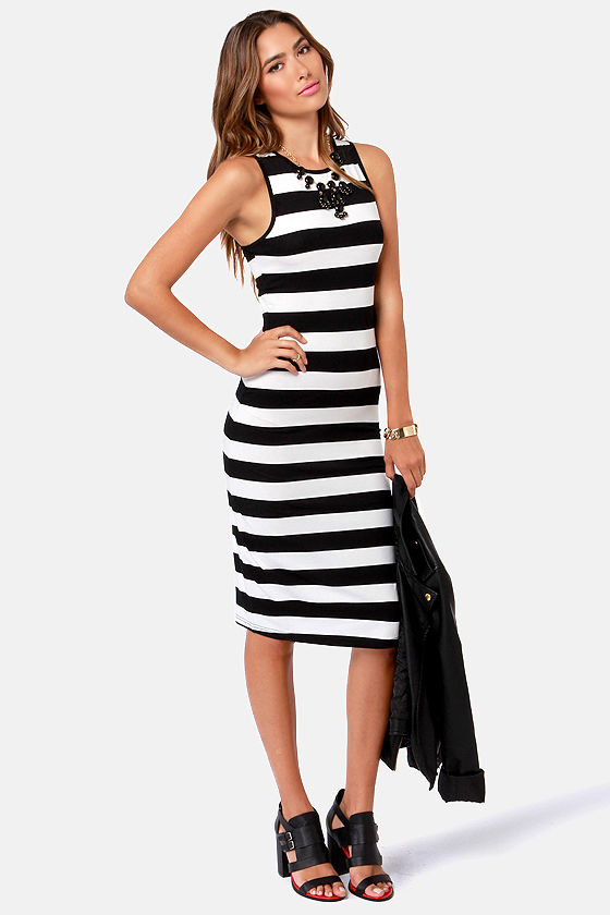 Cute Striped Dress - Black Dress - White Dress - $36.00
