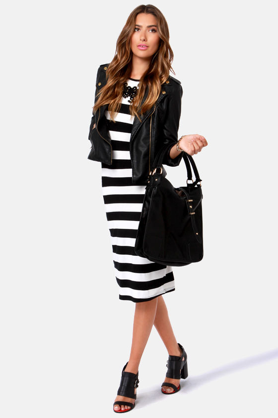 Hook, Line, and Sinker Black and White Striped Dress at Lulus.com!