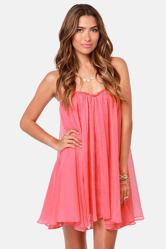 Blaque Label Dress - Strapless Dress - Coral Pink Dress - $139.00