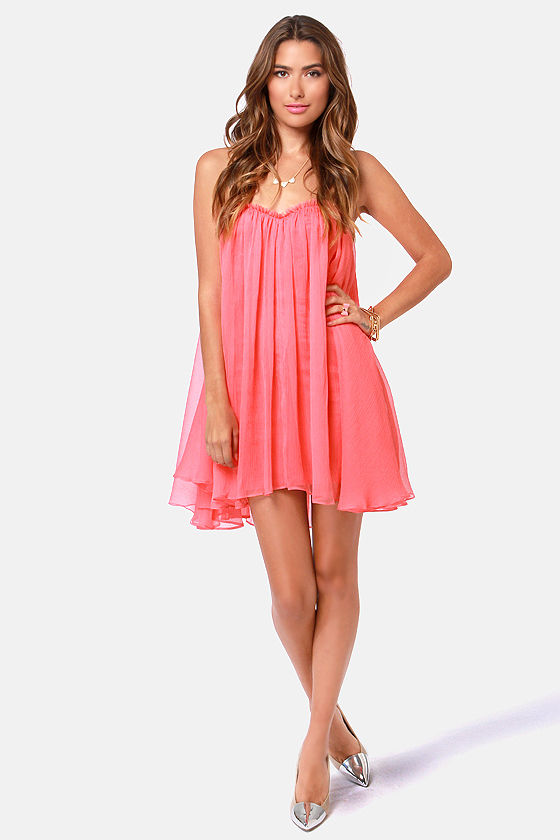 Blaque Label Anthology Strapless Coral Pink Dress at Lulus.com!