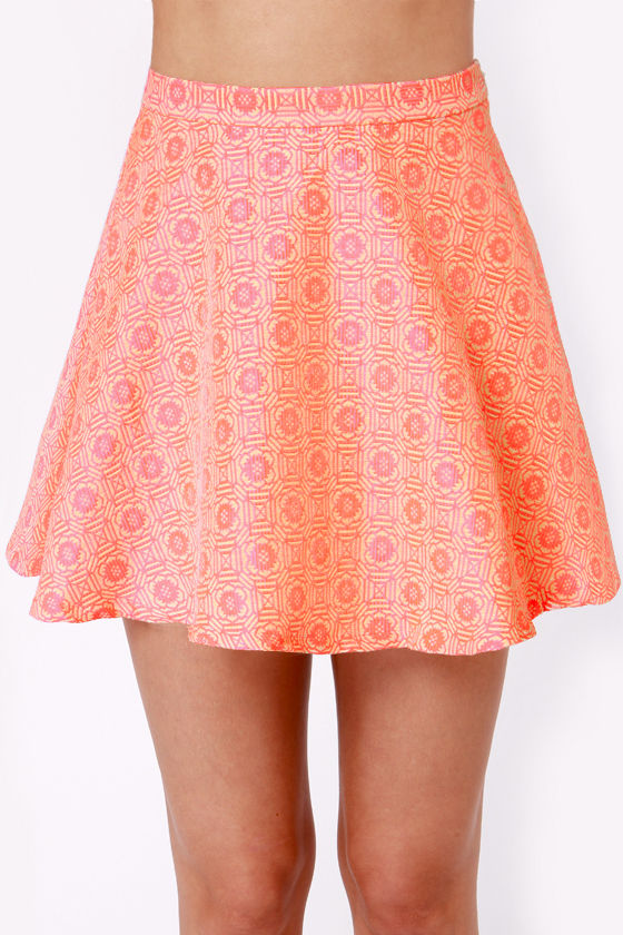 Brocade For Each Other Neon Coral Skirt at Lulus.com!