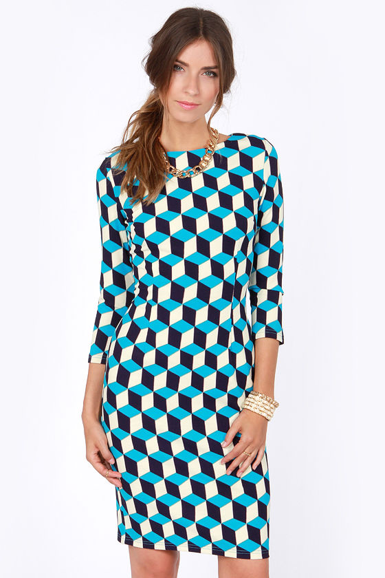 Cube As Can Be Blue and Cream Print Dress at Lulus.com!