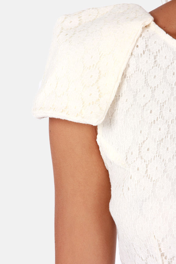 Fine Dining Cream Lace Dress at Lulus.com!