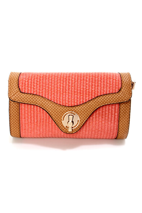 Weave Only Just Begun Coral Clutch by Urban Expressions at Lulus.com!