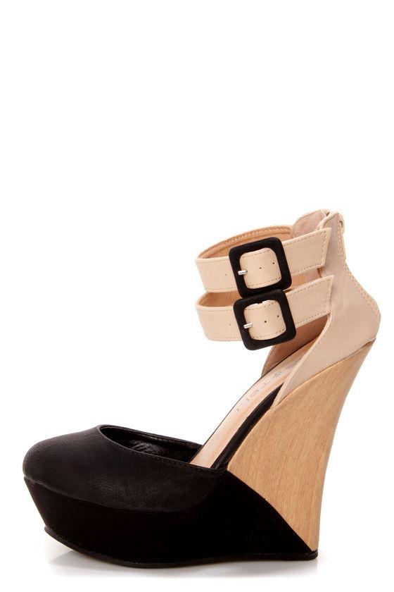 Valera 11 Black and Beige Belted Color Block Wedges at Lulus.com!