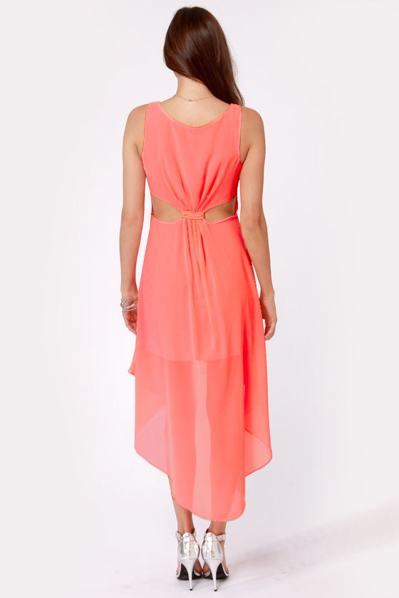 Back's Treat Bows Neon Coral High-Low Dress at Lulus.com!