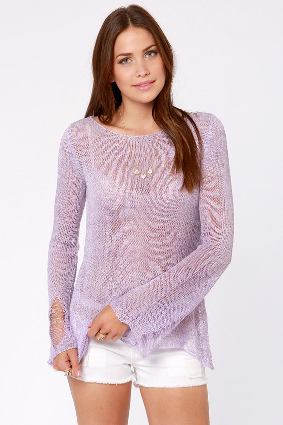 A-Shred of the Game Lavender Sweater at Lulus.com!