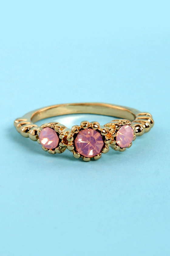 Castle Keep Gold and Pink Rhinestone Ring at Lulus.com!