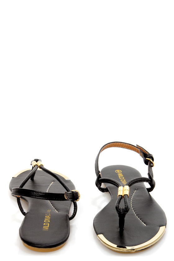 Wild Diva Lounge Tabiana 04 Black and Gold Thong Sandals at Lulus.com!
