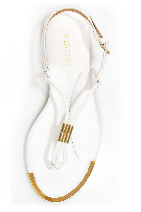 Wild Diva Lounge Tabiana 04 White and Gold Thong Sandals at Lulus.com!