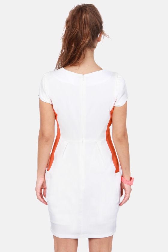 Walk Bright Up Orange and White Dress at Lulus.com!
