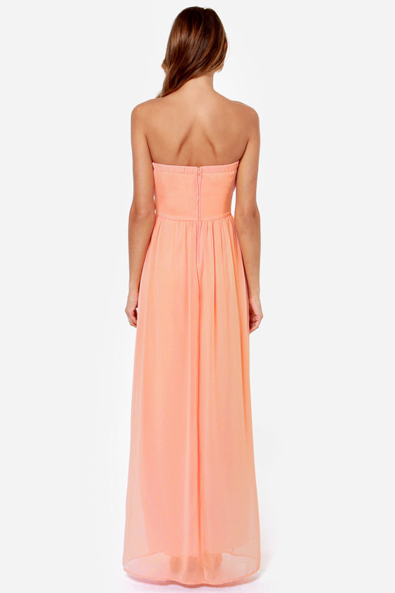 LULUS Exclusive Slow Dance Strapless Peach Maxi Dress at Lulus.com!