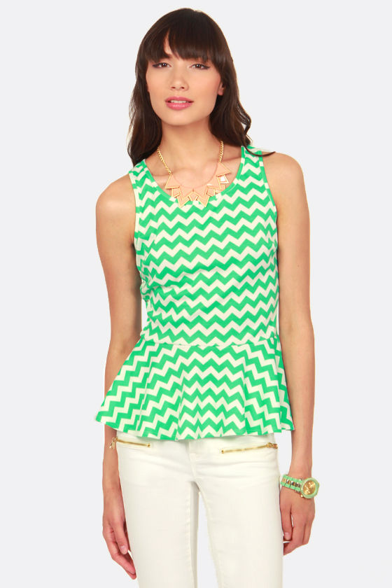 Soft Swerve Sea Green Chevron Print Top at Lulus.com!