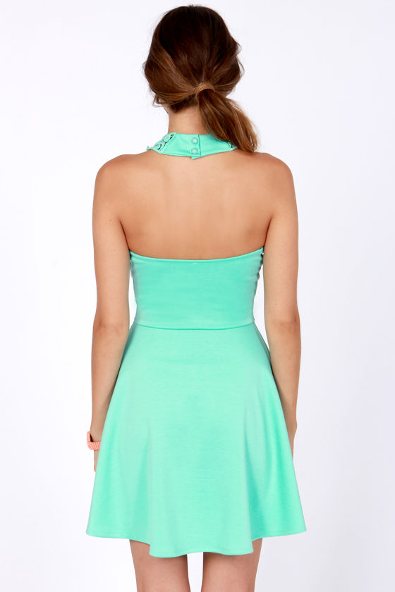 What a Crush Seafoam Lace Halter Dress at Lulus.com!