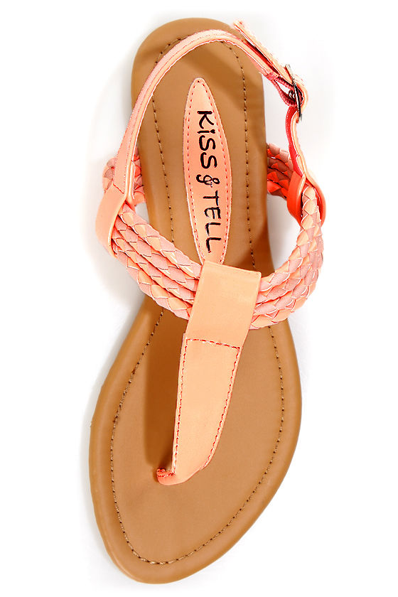 Aliza 17 Blush and Bright Peach Patent Braided Thong Sandals at Lulus.com!