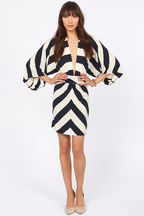 Kimono-a-Mano Navy Blue and Ivory Striped Dress at Lulus.com!