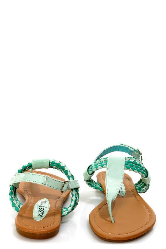 3ea274730 Aliza 17 Mint Green Patent Braided Thong Sandals -  22.00