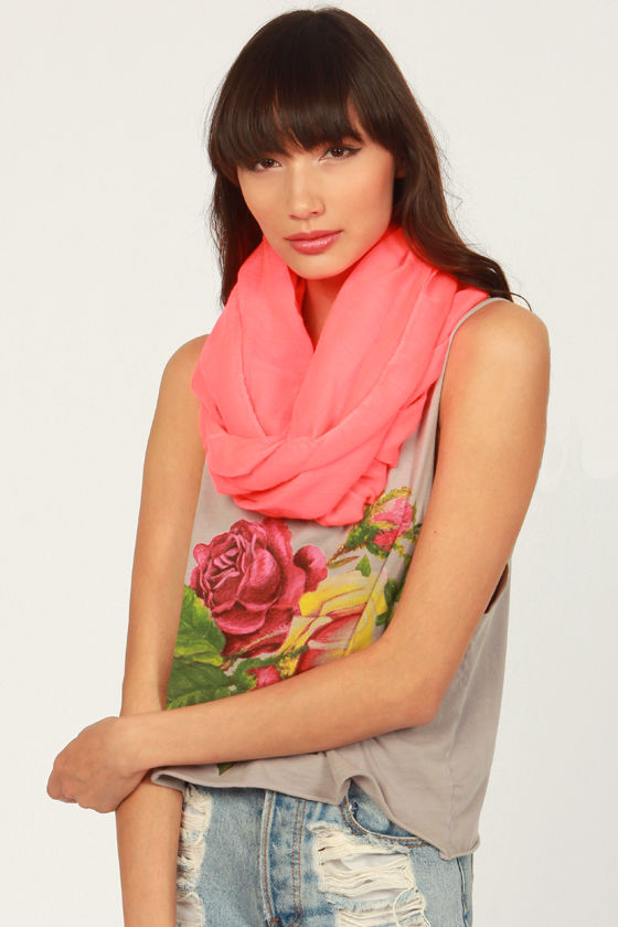The Kids Are All Bright Neon Coral Infinity Scarf at Lulus.com!
