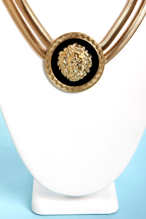 Roar-man Empire Black and Gold Lion Necklace at Lulus.com!