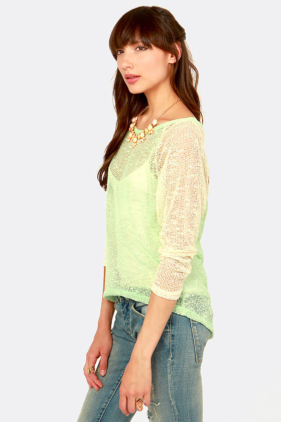 Player's Club Cream and Mint Sweater Top at Lulus.com!