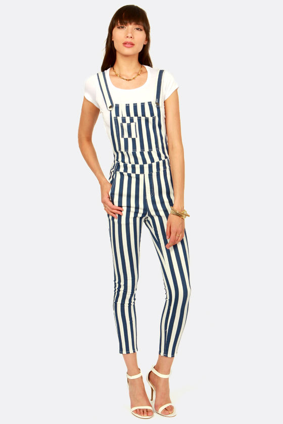 ab0f322884 Cute Blue and White Overalls - Striped Overalls -  54.00