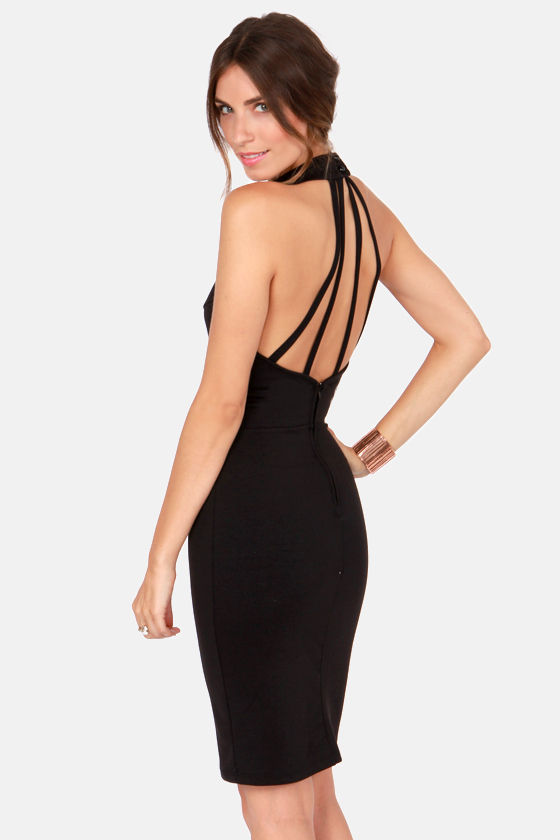 Hear Me Roar Cutout Black Midi Dress at Lulus.com!