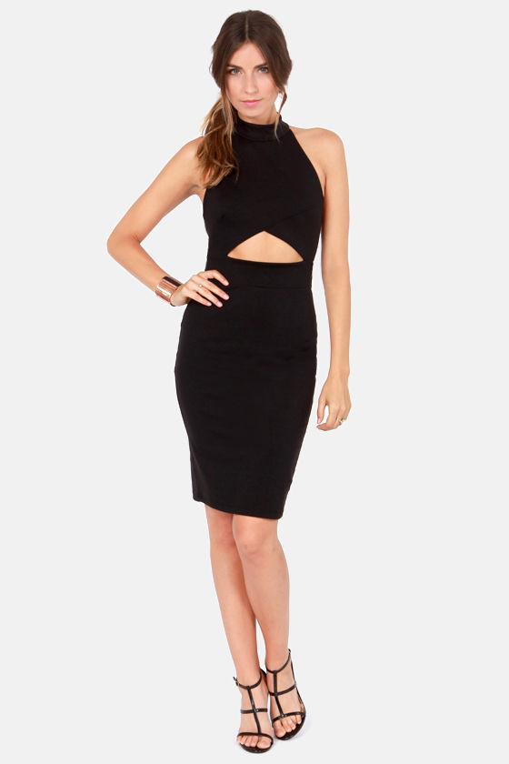 Hear Me Roar Cutout Black Midi Dress at Lulus.com!