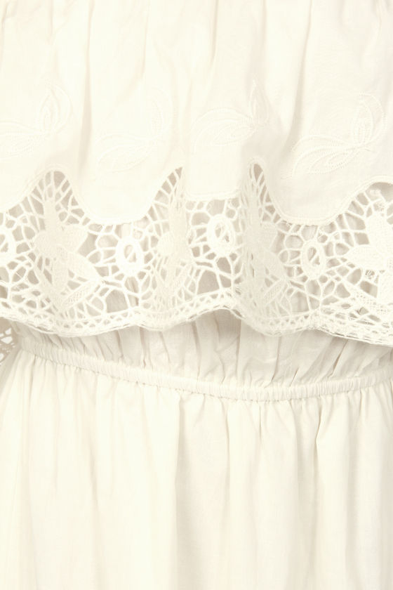 Hope-lace Romantic Strapless Ivory Maxi Dress at Lulus.com!