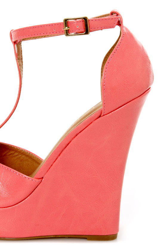 Mortimer 22 Coral and Gold T-Strap Peep Toe Wedge Sandals at Lulus.com!