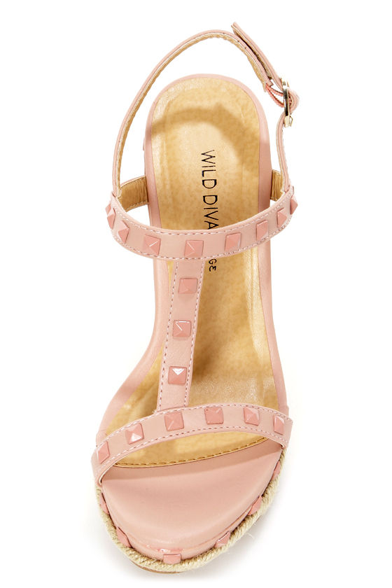 Wild Diva Lounge Madison 60 Nude Studded Espadrille Wedges at Lulus.com!