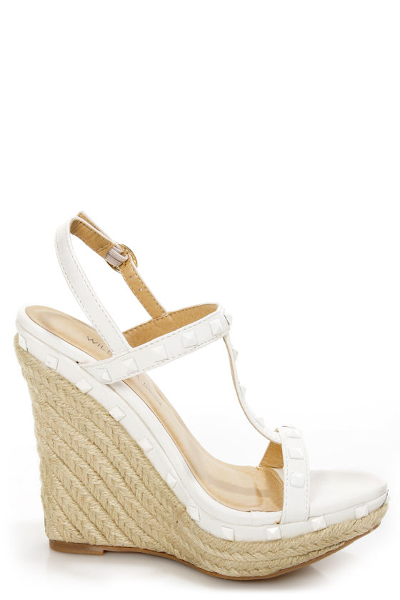 Wild Diva Lounge Madison 60 White Studded Espadrille Wedges at Lulus.com!