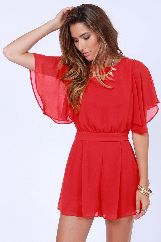 5af3d1b86fe Pretty Red Romper - Short Sleeve Romper - $49.00