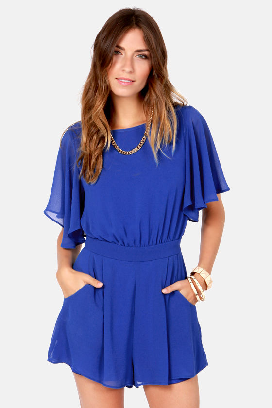 70a009524 Pretty Royal Blue Romper - Short Sleeve Romper -  49.00