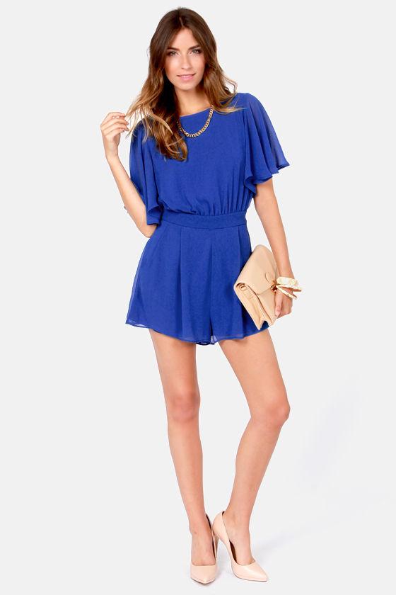 2cb672b38630 Pretty Royal Blue Romper - Short Sleeve Romper -  49.00