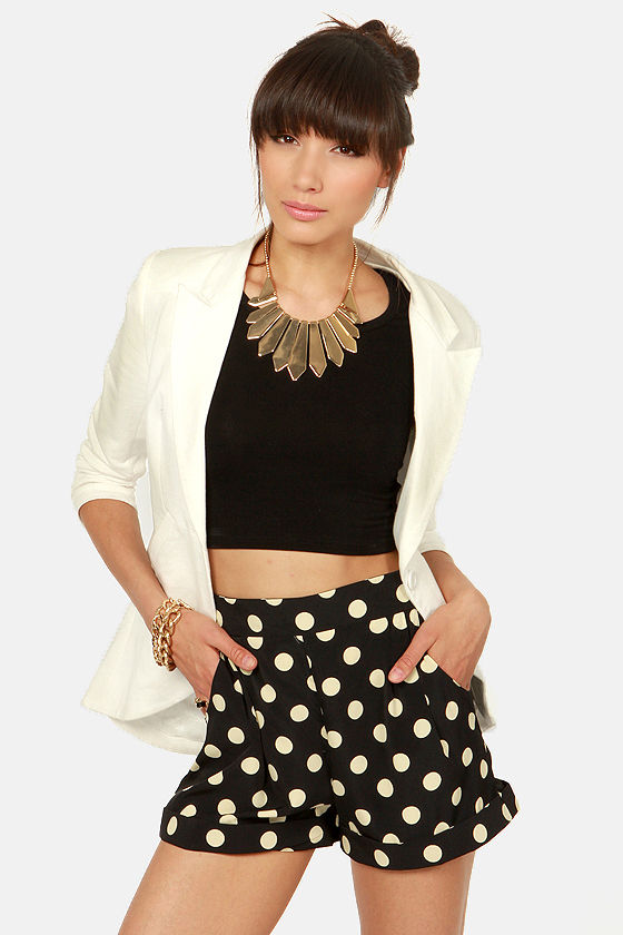 On Second Dot Black and Cream Polka Dot Shorts at Lulus.com!