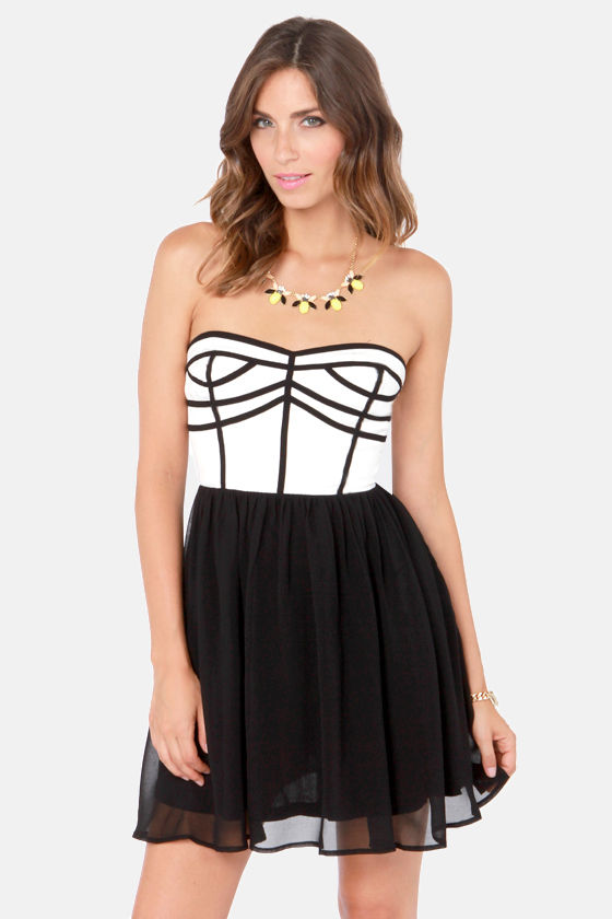 Chic Squad Black and Ivory Strapless Dress at Lulus.com!