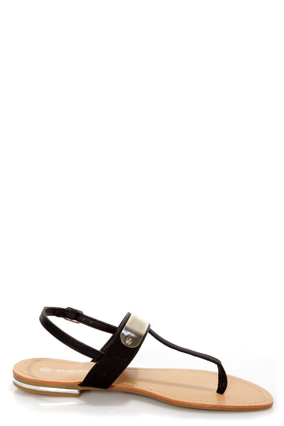 Zuri 1 Black Silver Plated Thong Sandals at Lulus.com!