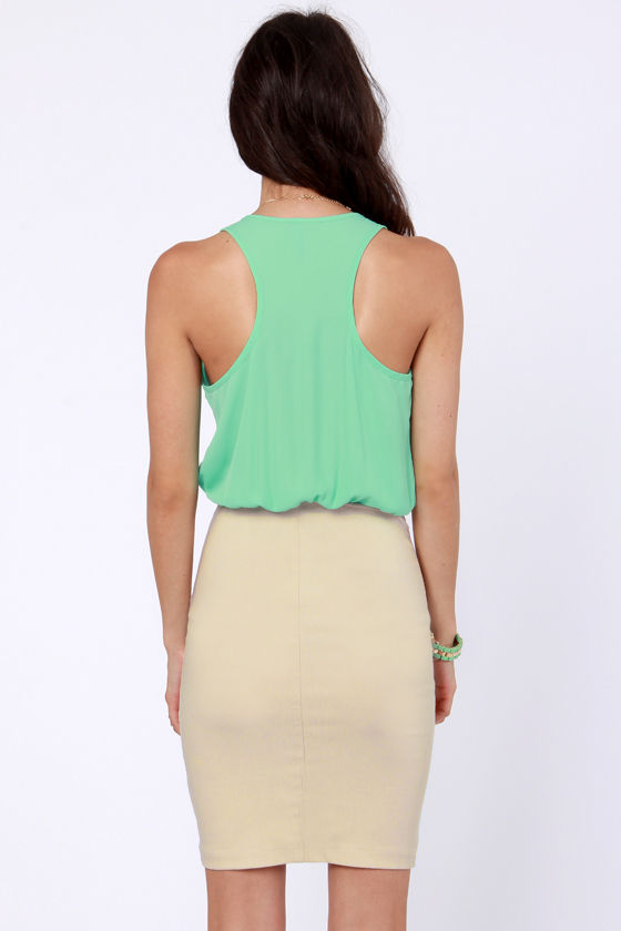 Chip Off the Color Block Mint Green and Beige Dress at Lulus.com!