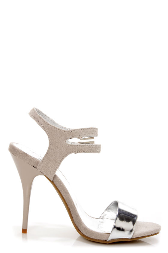 Gillian 12 Silver and Grey Single Strap Dress Sandals at Lulus.com!