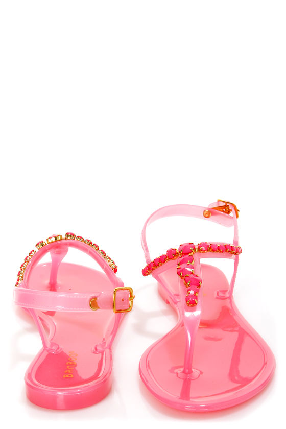 Bamboo Hawaii 23 Melon Jelly Bejeweled Thong Sandals at Lulus.com!