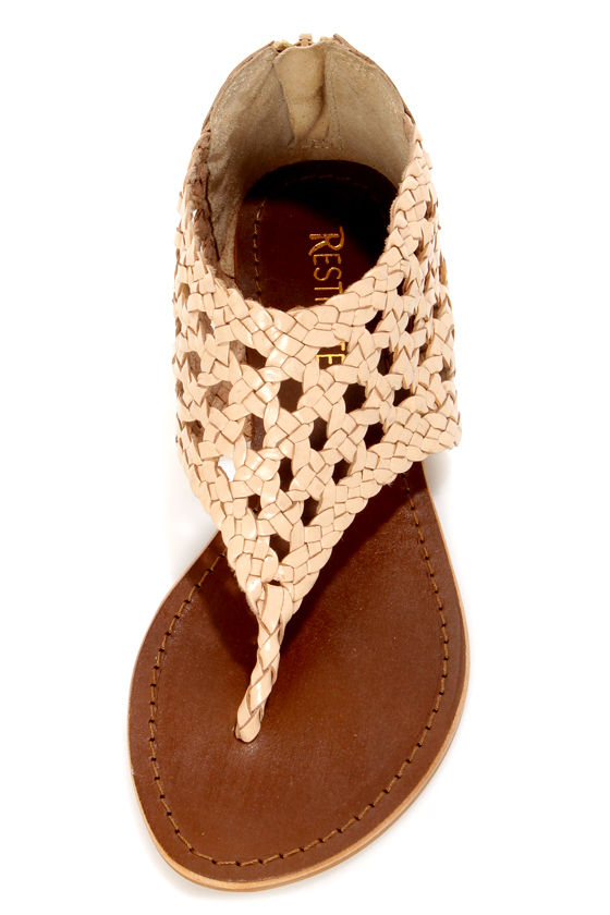 Restricted Destiny Natural Wicker Ankle Cuff Thong Sandals at Lulus.com!