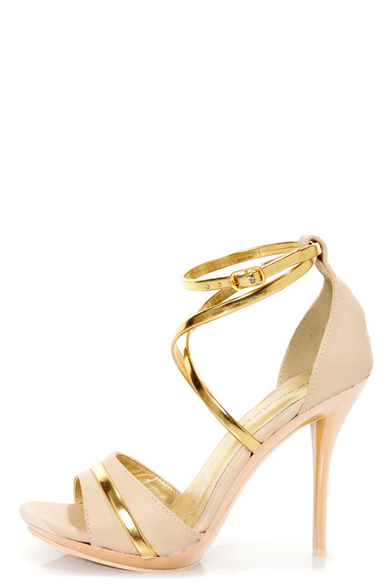 Shoe Republic LA Udell Nude and Gold Strappy Dress Sandals - $38.00