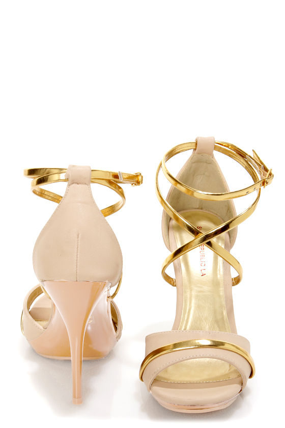 Shoe Republic LA Udell Nude and Gold Strappy Dress Sandals at Lulus.com!