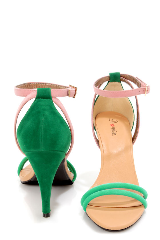 Promise Delma Turquoise Multi Color Block High Heel Sandals at Lulus.com!