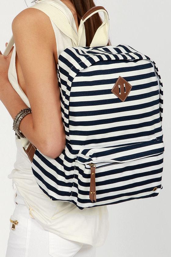 Madden Girl Bskool Backpack Striped Backpack Navy Blue