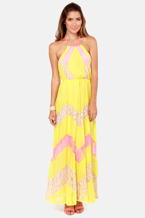 Pixie Chicks Pink and Yellow Maxi Dress at Lulus.com!