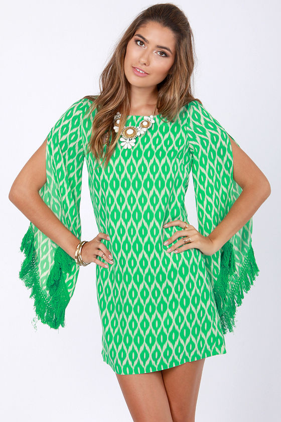 Totally Twiggy Green Print Dress at Lulus.com!
